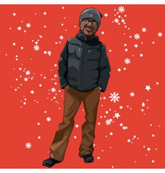 cartoon man in winter clothes on a red background vector image