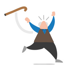 cartoon old man throwing his walking stick and vector image