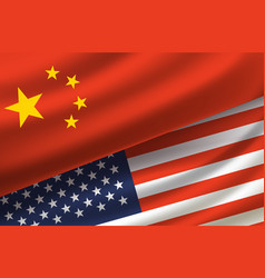 China and usa background with flags vector