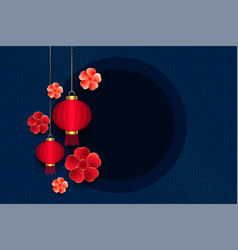 Chinese lamp and flower with text space background vector