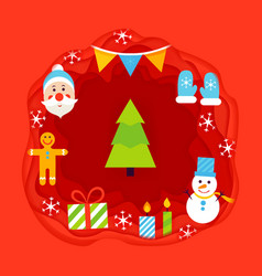 christmas papercut concept vector image