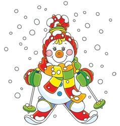 Christmas Snowman skier vector