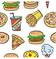 collection stock of fast food style doodles vector image