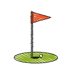 color crayon stripe cartoon golf flag with hole vector image