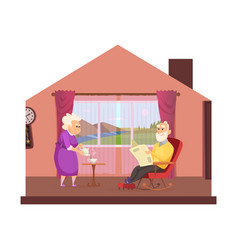 cozy domestic lifestyle elderly couple drink tea vector image