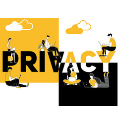 creative word concept privacy and people doing vector image