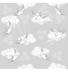 Cute seamless swallow and cloud pattern vector
