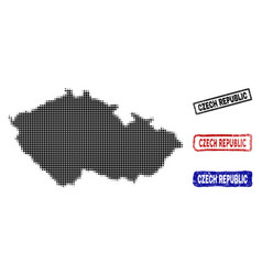 czech republic map in halftone dot style with vector image