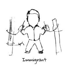 Drawing of refugee on a white background vector image
