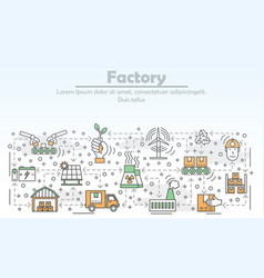 ecological factory advertising flat line vector image