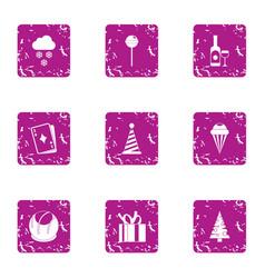 Elation icons set grunge style vector