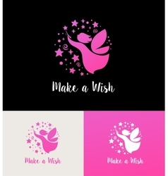 Fairy with magic wand - make a wish vector image