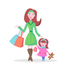 Family shopping cartoon flat concept vector