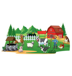 farmer and animals on farm yard vector image