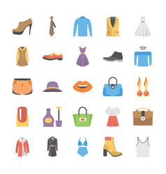 fashion icons collection in flat design vector image