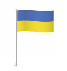Flag of Ukraine waving on a metallic pole vector