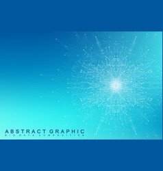 fractal element with compounds lines and dots big vector image