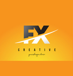 Fx f x letter modern logo design with yellow vector