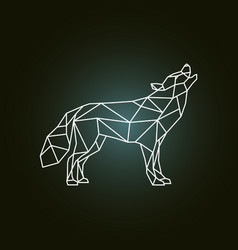 Geometric silhouette of the howling wolf side vector