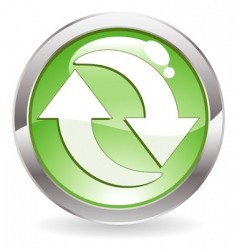 Gloss button with recycling symbol vector