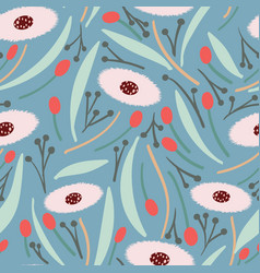 Grey blue background with large pink round florals vector