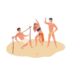 group happy friends dancing limbo on sand vector image