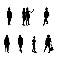 Group of people adults and children walking on vector