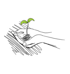 Hands with seeds and sprout agriculture sprout vector