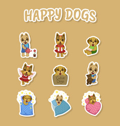 happy dogs cute stickers set cute pets animals vector image