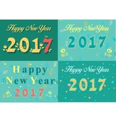 Happy new year 2017 Vintage floral font vector