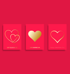 happy valentines day background with golden vector image