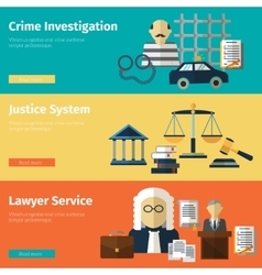 Justice and lawyer service banners set vector
