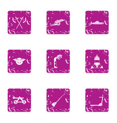 longstanding icons set grunge style vector image