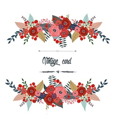 Luxurious vintage card of color flowers vector