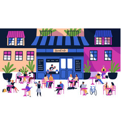 many tiny people sitting at outdoor sidewalk cafe vector image