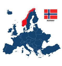 map of europe with highlighted norway vector image