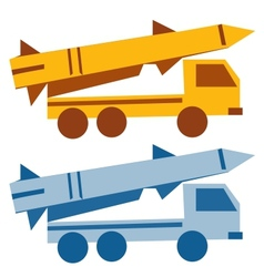 Military missile vehicle cartoon silhouette vector