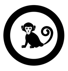 monkey icon in round black color vector image