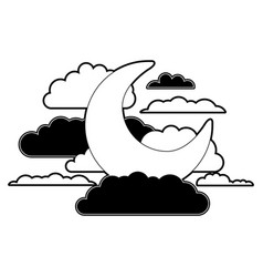 moon and clouds in night landscape black color vector image