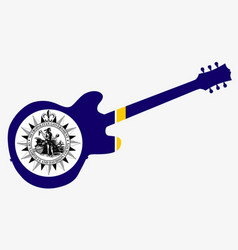 Nashville city guitar flag vector