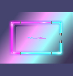 Neon frame background double color colorful neon vector