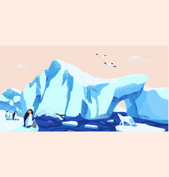 north pole arctic ice landscape flat vector image