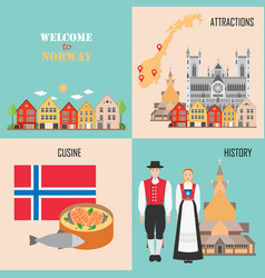 norway set with bergen wooden houses traditional vector image