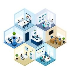 Office Hexagonal Tessellated Pattern Isometric vector