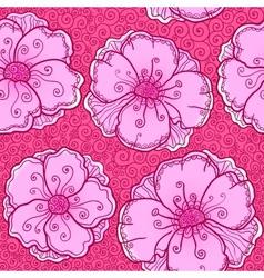 ornate poppy flowers seamless pattern vector image