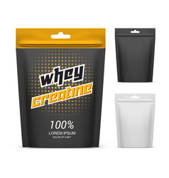 paper pack with whey creatine powder supplement vector image