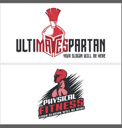 Physical fitness spartan muscle logo design vector