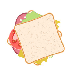 Picture of a sandwich with sausage cheese salad vector