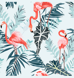pink flamingo and exotic blue leaves blue backgrod vector image