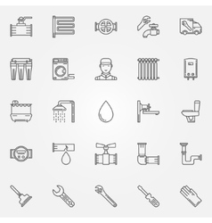 Plumbing icons set vector image